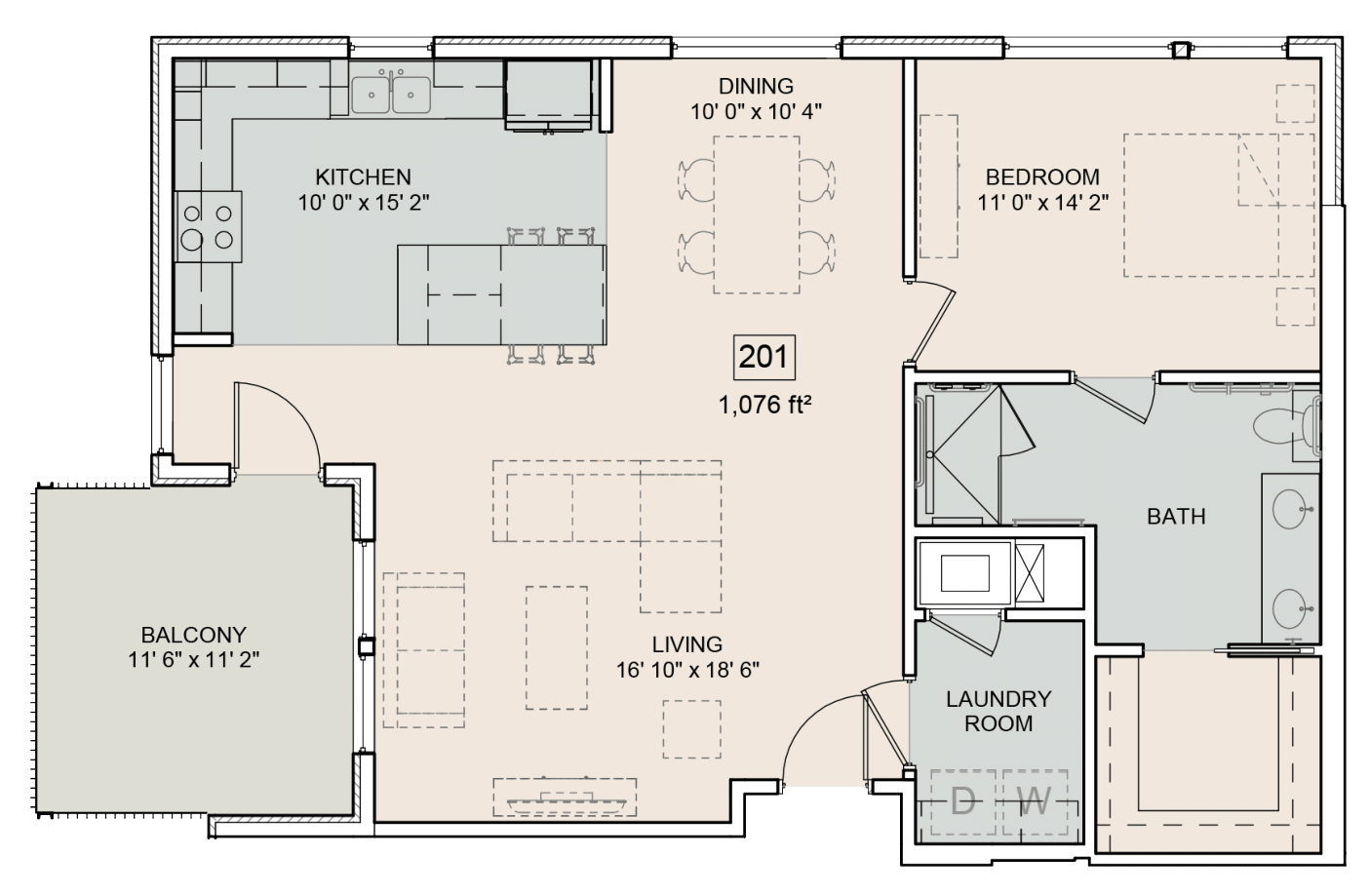 A Antoine unit with 1 Bedrooms and 1 Bathrooms with area of 1076 sq. ft