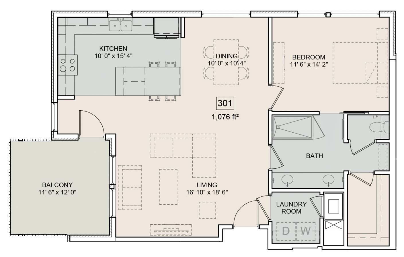 A Austen unit with 1 Bedrooms and 1 Bathrooms with area of 1076 sq. ft