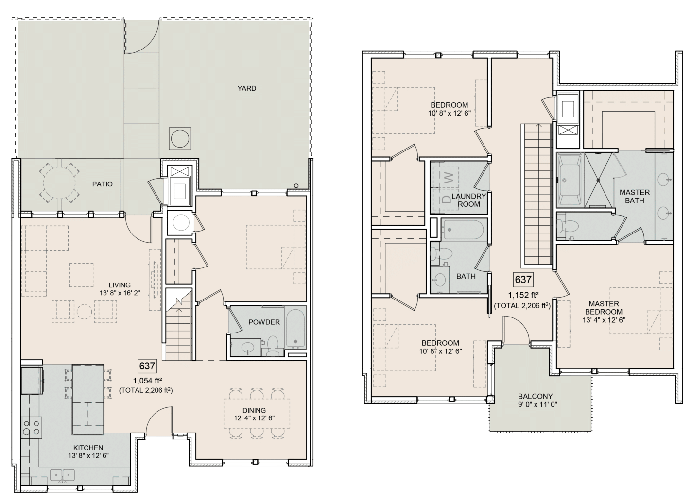 A Beverly unit with 4 Bedrooms and 3 Bathrooms with area of 2206 sq. ft