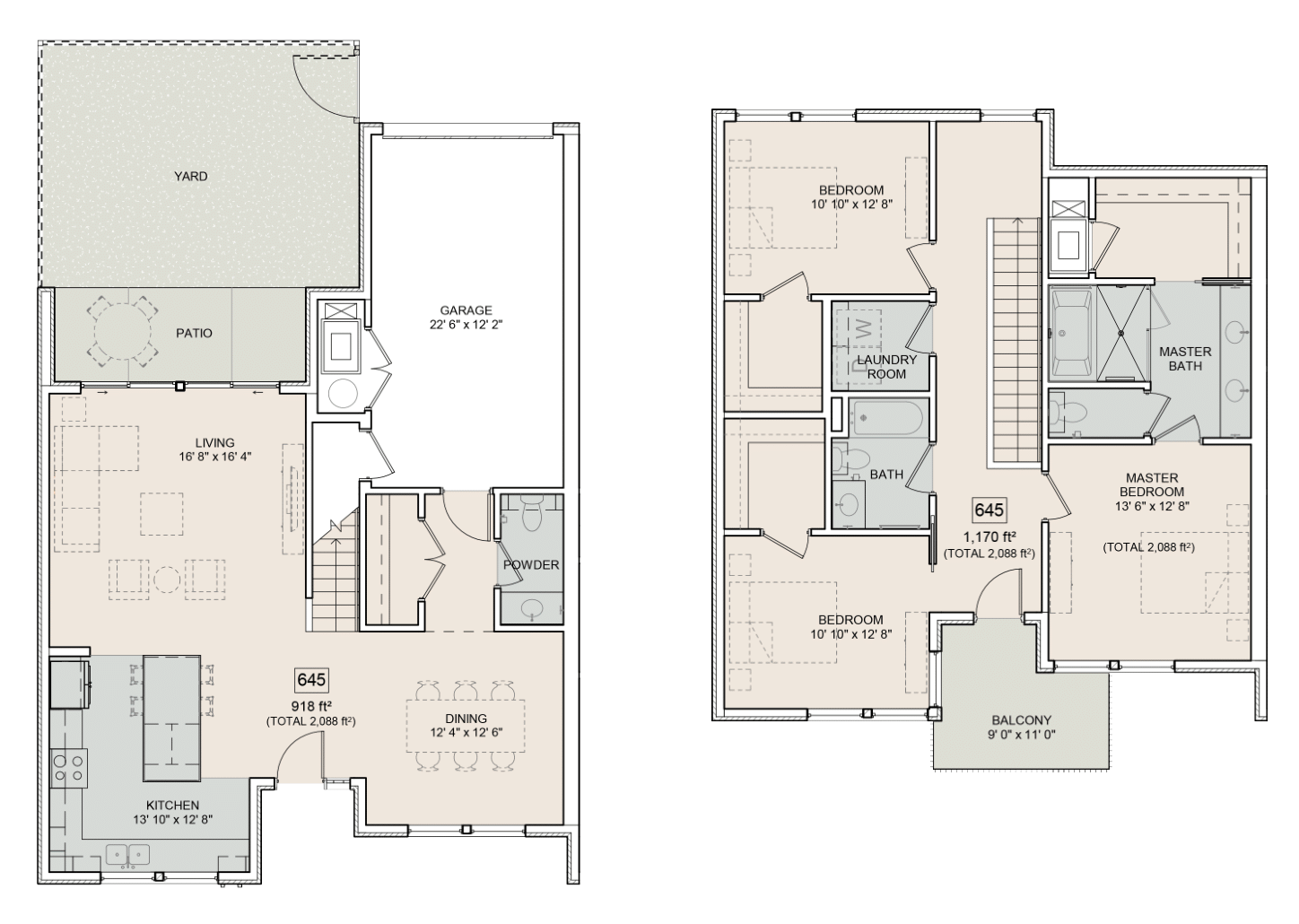 A Elliot unit with 3 Bedrooms and 3 Bathrooms with area of 2088 sq. ft