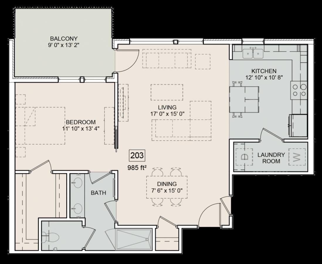The Bower Floorplan Frances 203