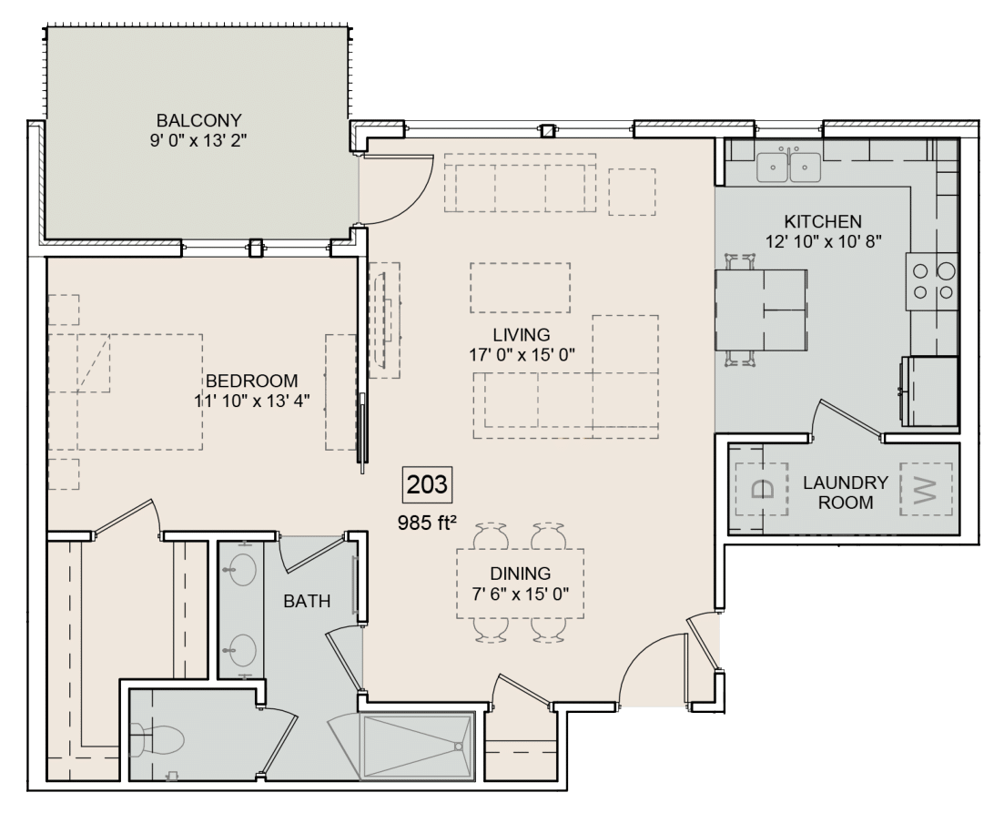 A Frances unit with 1 Bedrooms and 1 Bathrooms with area of 985 sq. ft