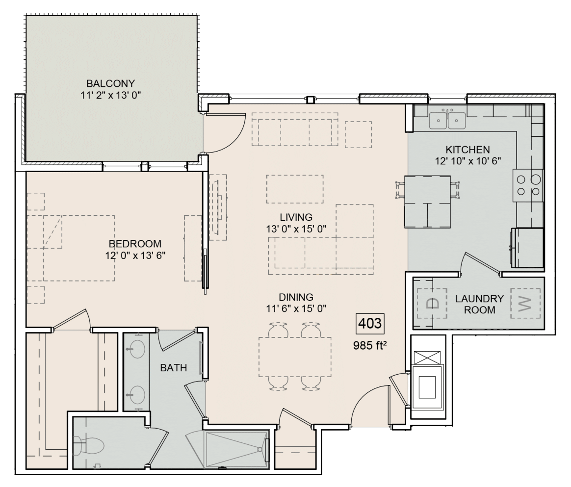 A Fenton unit with 1 Bedrooms and 1 Bathrooms with area of 1042 sq. ft