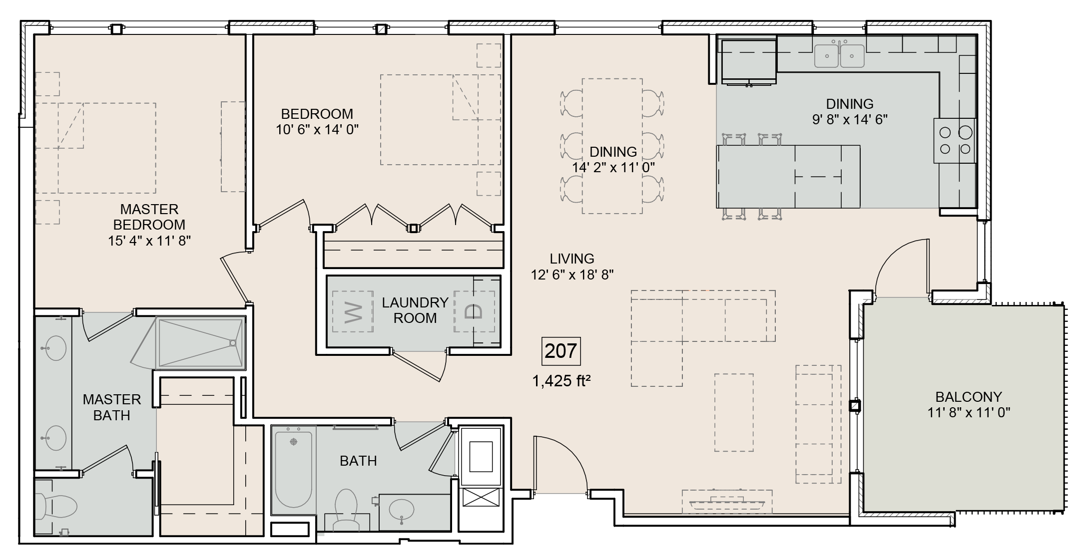 A Lewis unit with 2 Bedrooms and 2 Bathrooms with area of 1425 sq. ft