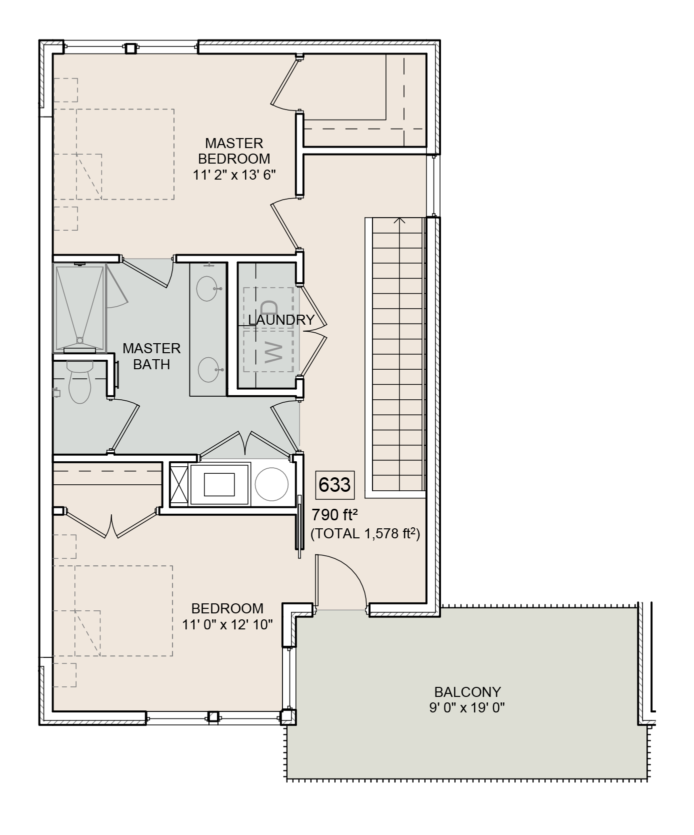 A Seuss unit with 2 Bedrooms and 2 Bathrooms with area of 1578 sq. ft
