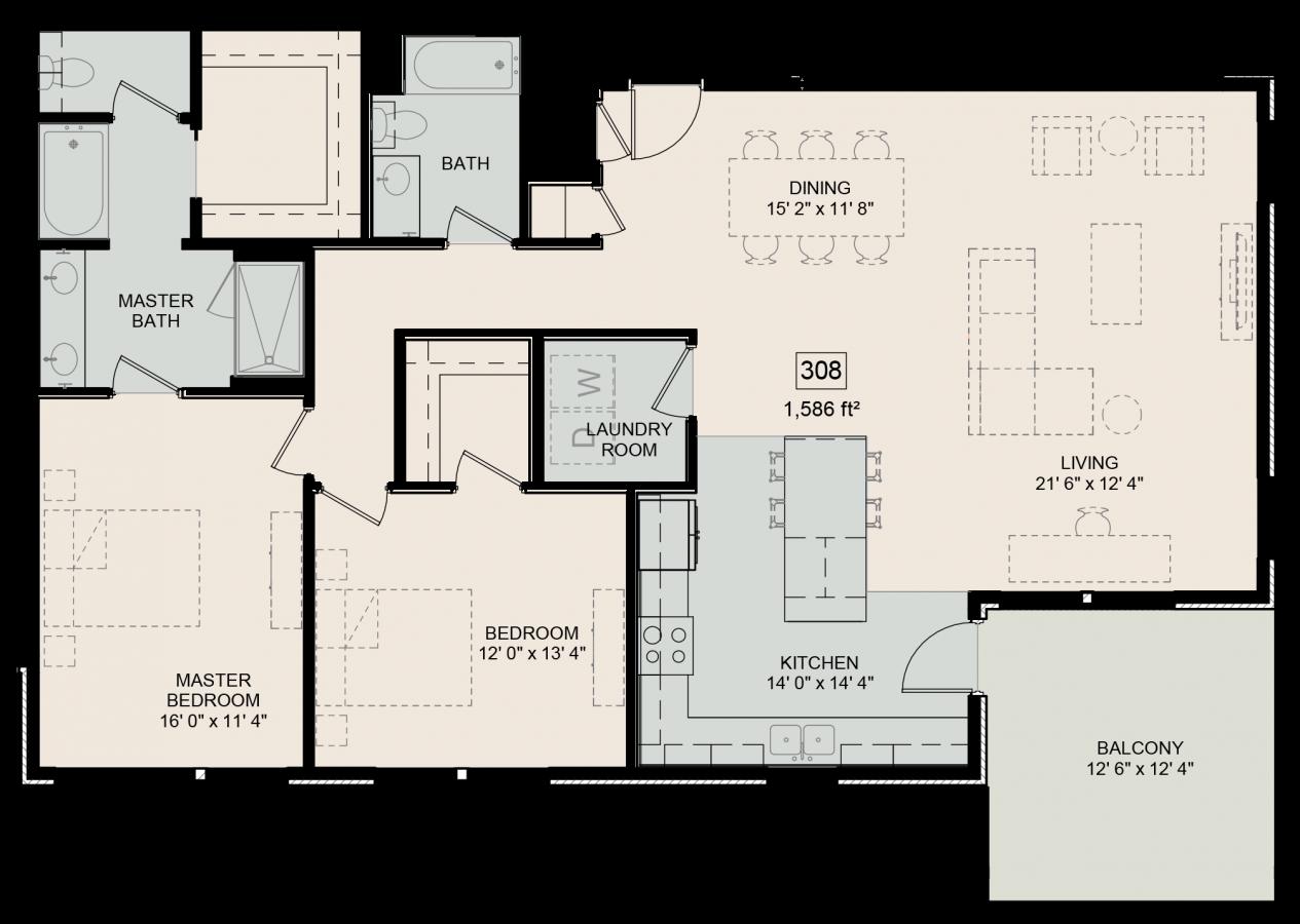 The Bower Floorplan Whitman 308