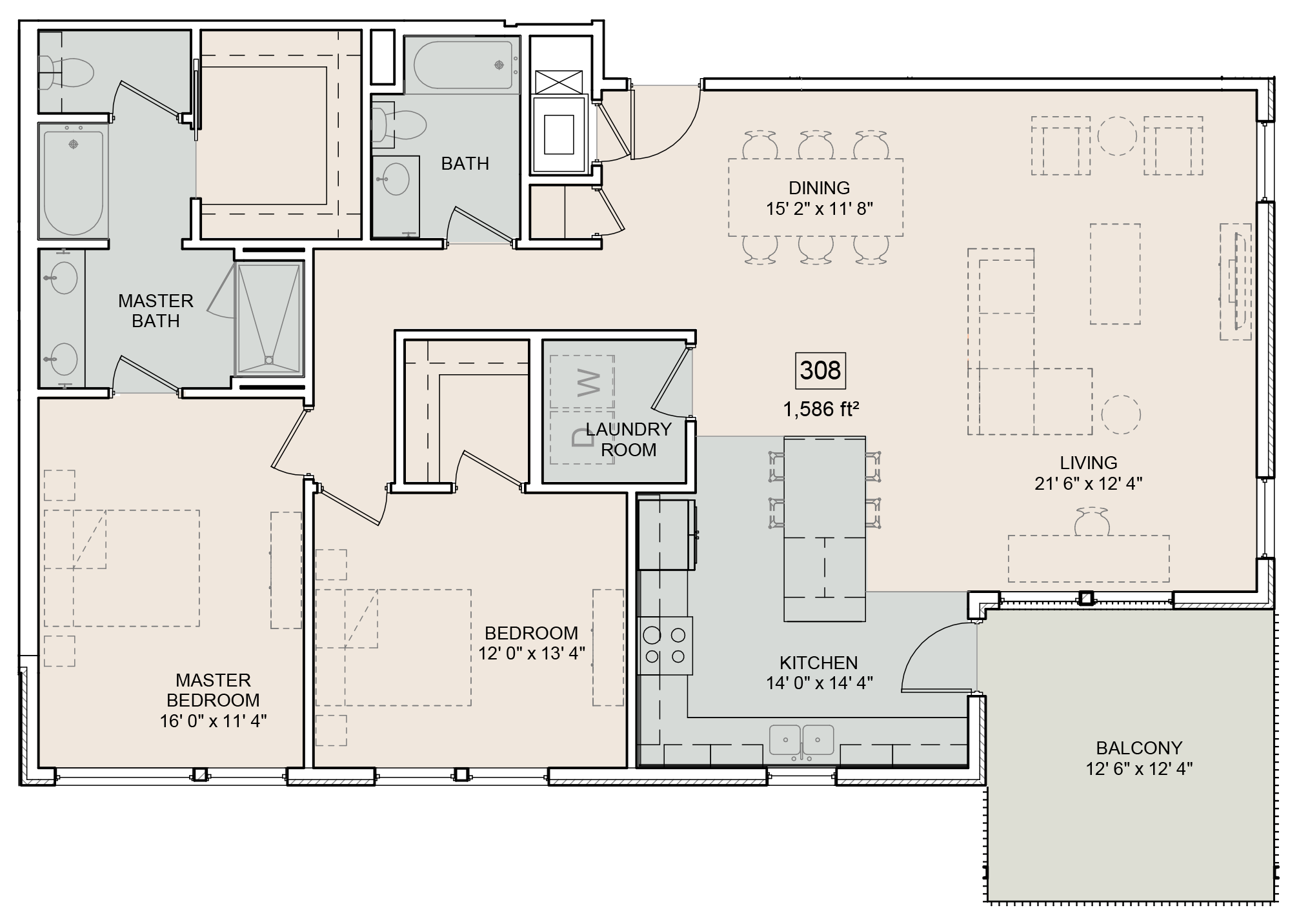 A Whitman unit with 2 Bedrooms and 2 Bathrooms with area of 1586 sq. ft
