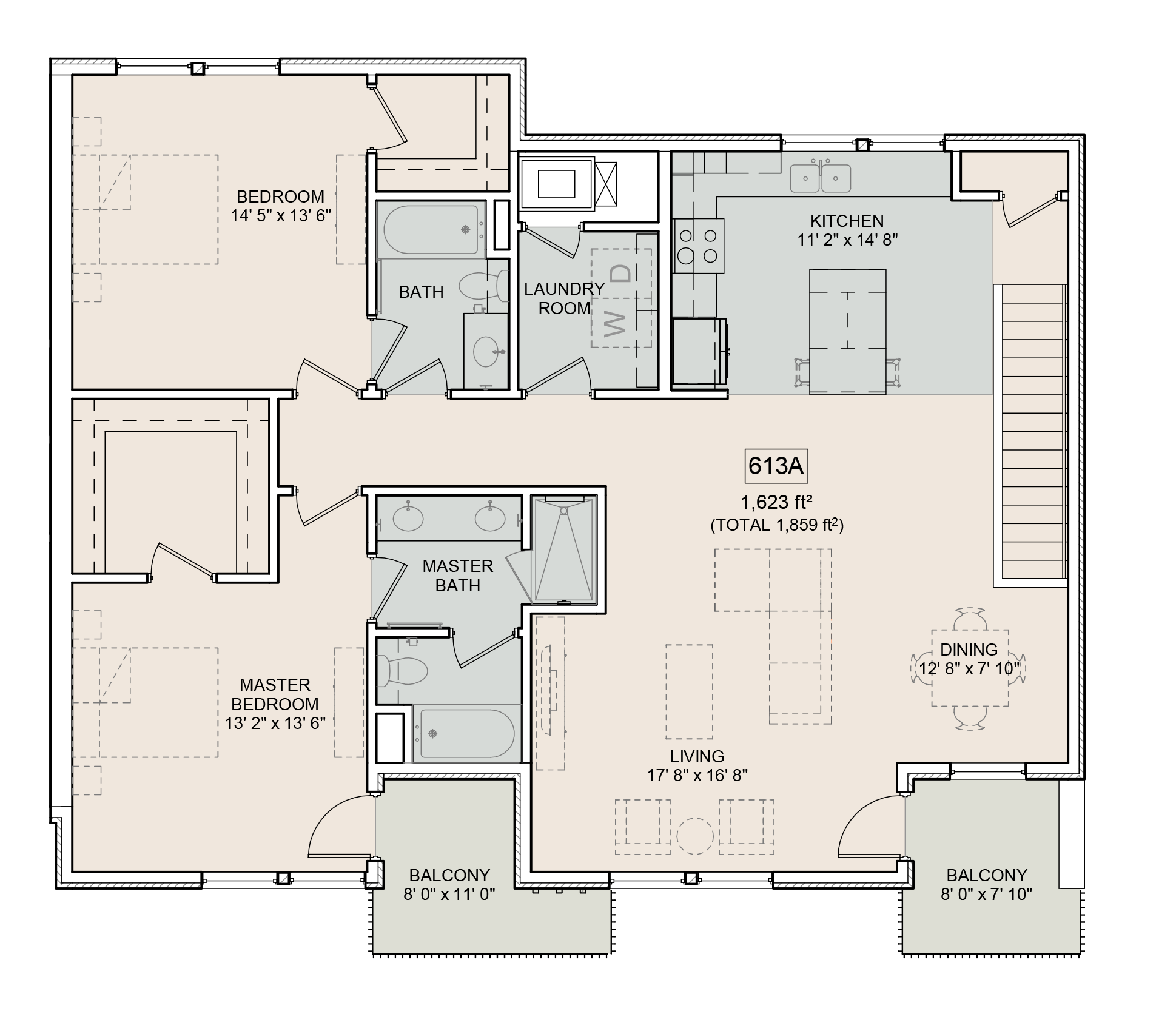 A Wynde unit with 2 Bedrooms and 2 Bathrooms with area of 1859 sq. ft