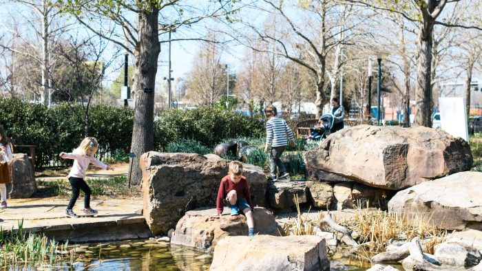 the bower kids playing in park